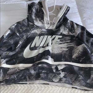 Nike cropped black and white hoodie